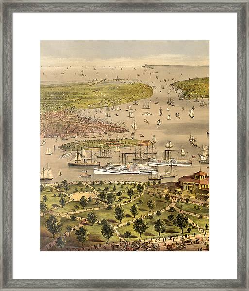 Port Of New York, Birds Eye View From The Battery Looking South, Circa 1878 Framed Print