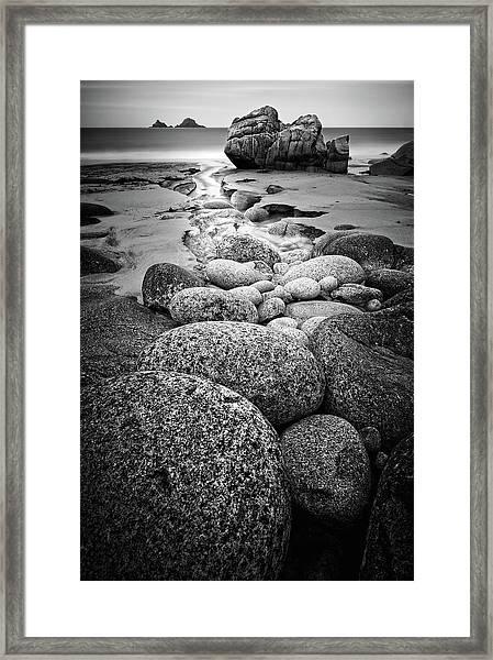 Porth Nanven Bw Framed Print