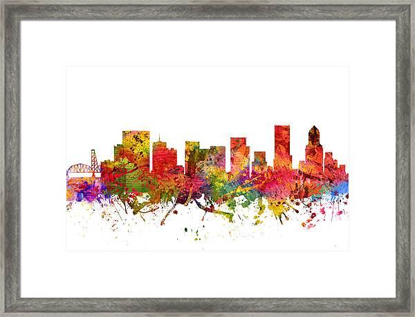 Portland Cityscape 08 Framed Print