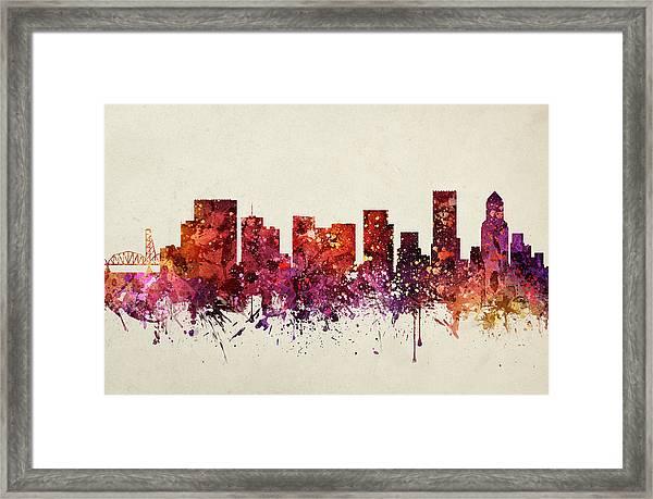 Portland Cityscape 09 Framed Print
