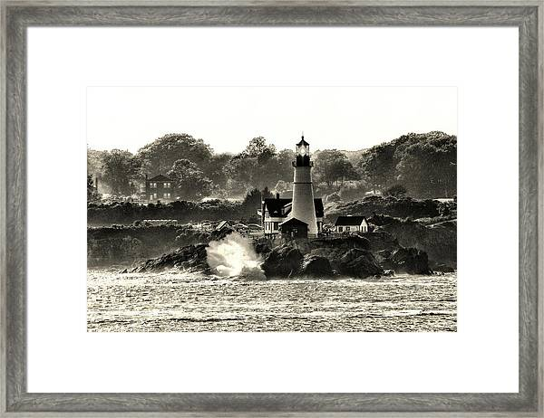 Portland Head Light At Cape Elizabeth In Black And White Framed Print