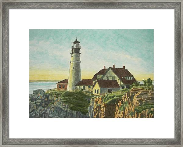 Framed Print featuring the painting Portland Head Light At Sunrise by Dominic White