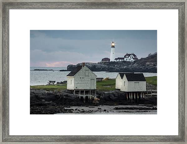 Portland Head Light From Willard Beach Framed Print