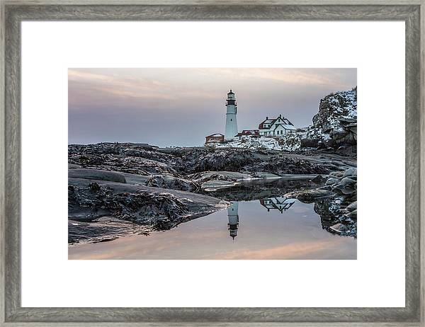 Portland Head Light Reflection Framed Print