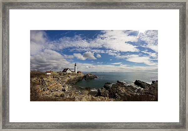 Portland Head Light Seascape Framed Print