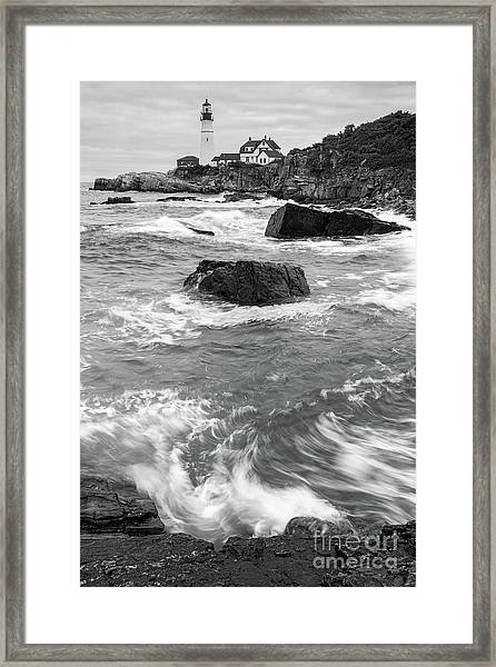 Portland Head Light Under Heavy Skies  -88356 Framed Print