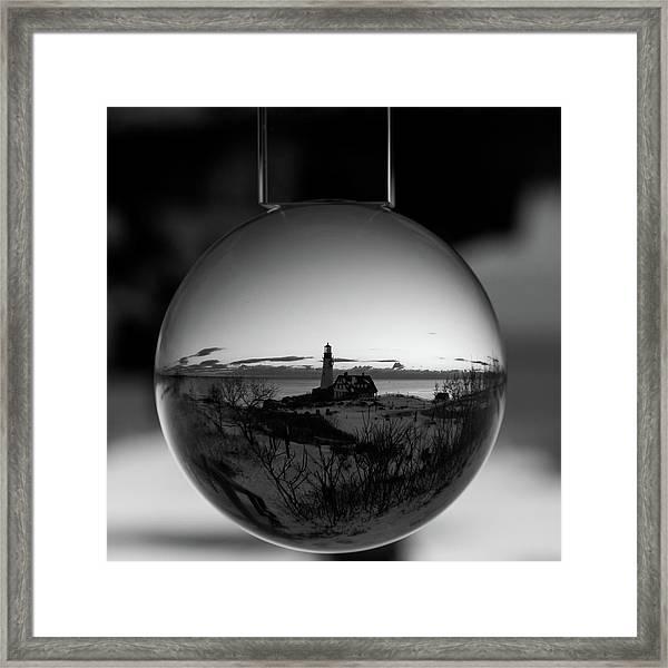 Portland Headlight Globe Framed Print