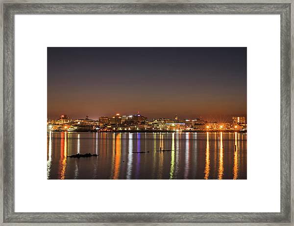 Portland Maine Skyline At Dusk Portland Me Framed Print