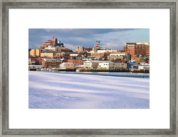 Portland Maine Winter Skyline Framed Print