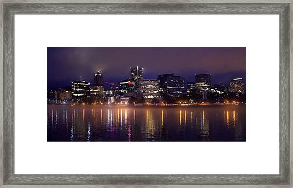 Portland Night Skyline Framed Print