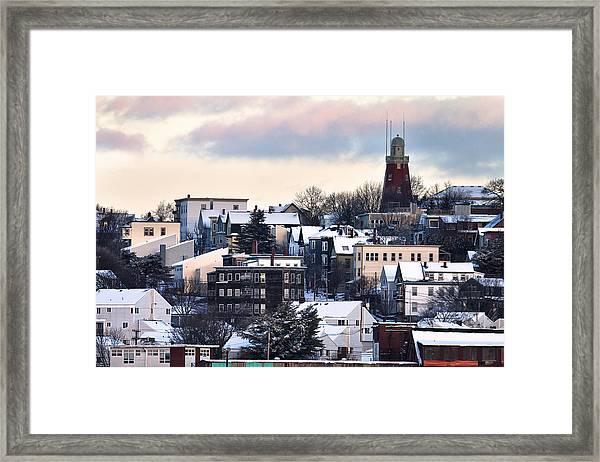 Portland Observatory Winter Skyline Framed Print