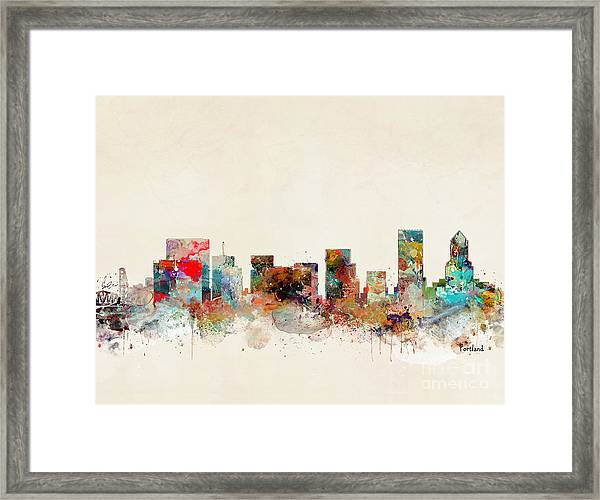 Portland Oregon City Skyline Framed Print