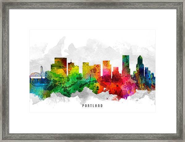 Portland Oregon Cityscape 12 Framed Print
