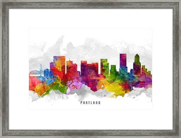 Portland Oregon Cityscape 13 Framed Print