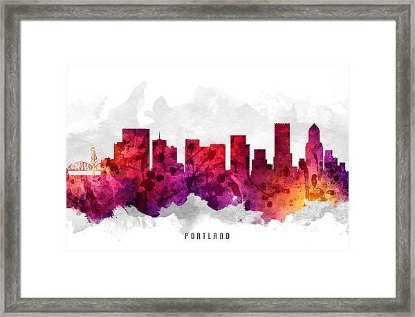 Portland Oregon Cityscape 14 Framed Print