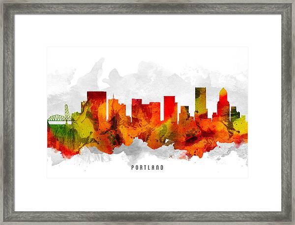 Portland Oregon Cityscape 15 Framed Print