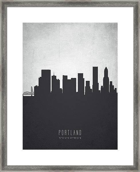 Portland Oregon Cityscape 19 Framed Print