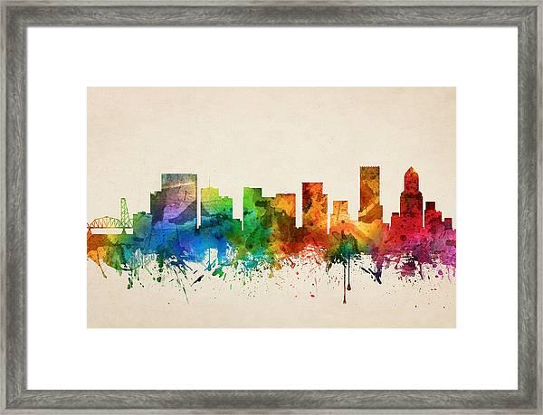 Portland Oregon Skyline 05 Framed Print