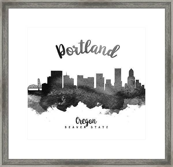Portland Oregon Skyline 18 Framed Print