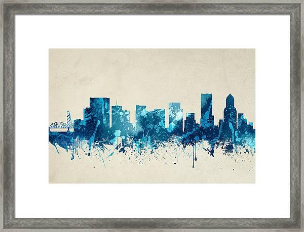 Portland Oregon Skyline 20 Framed Print