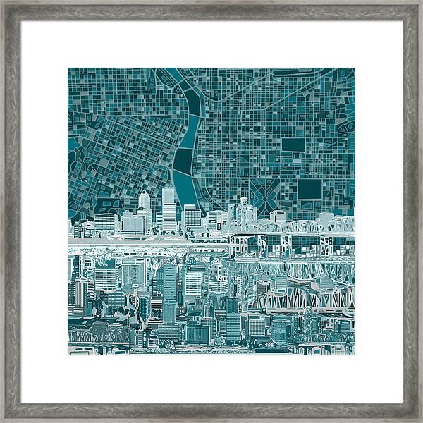 Portland Skyline Abstract 10 Framed Print