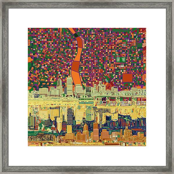Portland Skyline Abstract 3 Framed Print