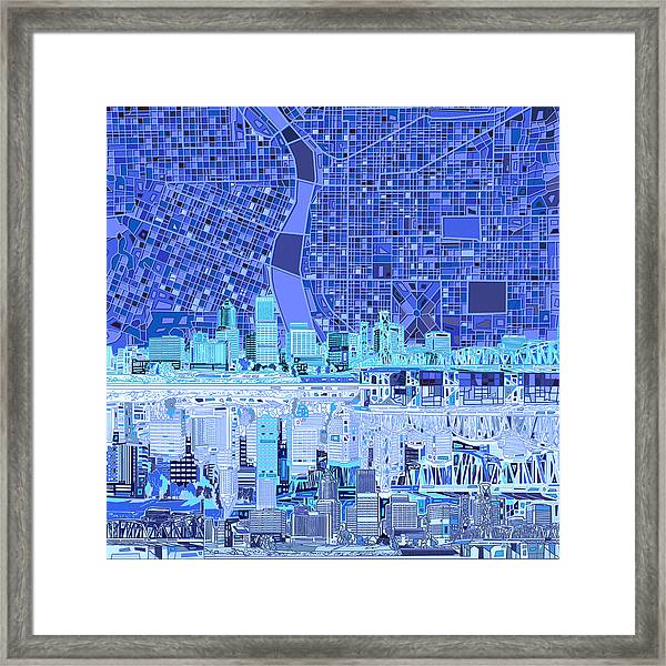 Portland Skyline Abstract 5 Framed Print