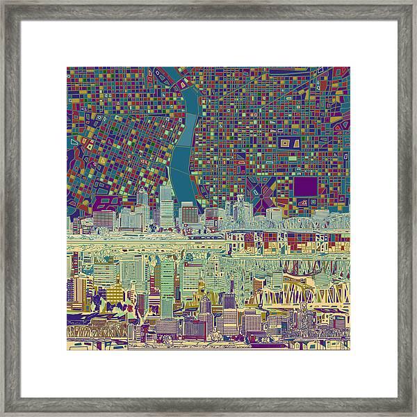 Portland Skyline Abstract 7 Framed Print