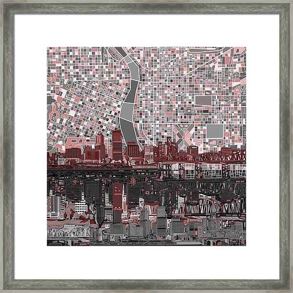 Portland Skyline Abstract 8 Framed Print