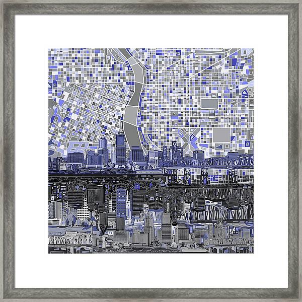 Portland Skyline Abstract Nb Framed Print