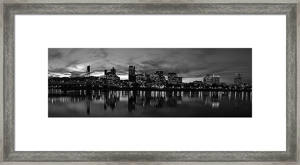 Portland Skyline Black And White Framed Print
