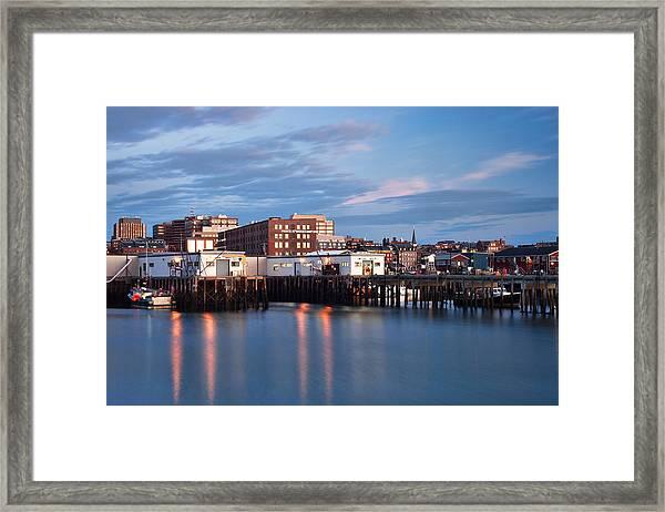 Portland Skyline Blue Hour Framed Print