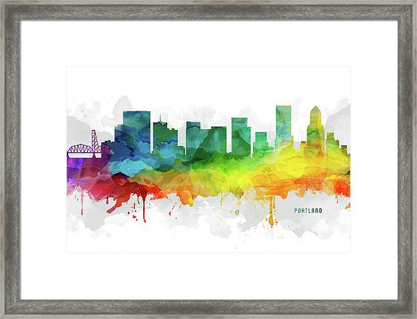 Portland Skyline Mmr-usorpo05 Framed Print