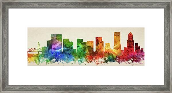 Portland Skyline Panorama Usorpo-pa03 Framed Print