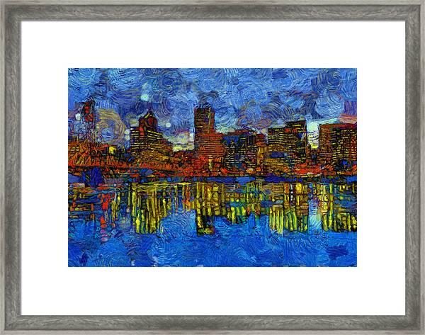 Portland Skyline Reflection Framed Print