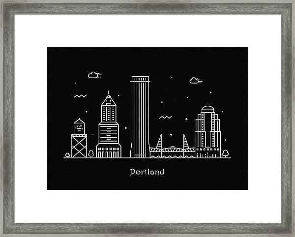 Portland Skyline Travel Poster Framed Print