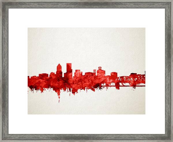 Portland Skyline Watercolor 3 Framed Print