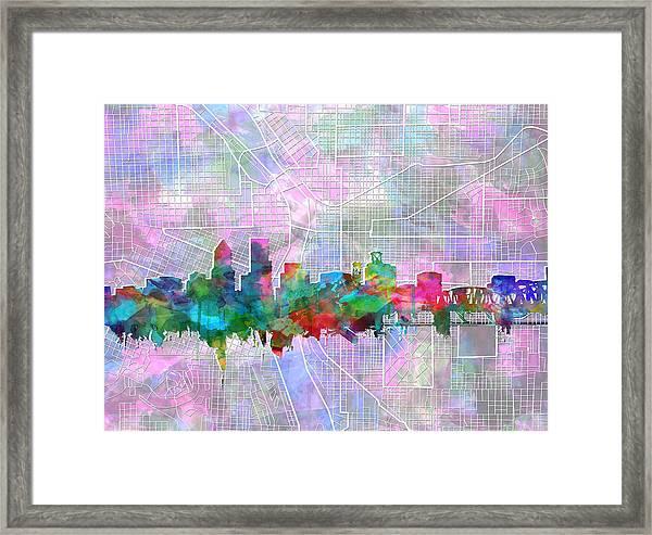 Portland Skyline Watercolor 6 Framed Print