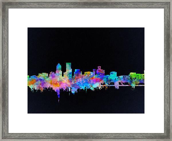Portland Skyline Watercolor Framed Print
