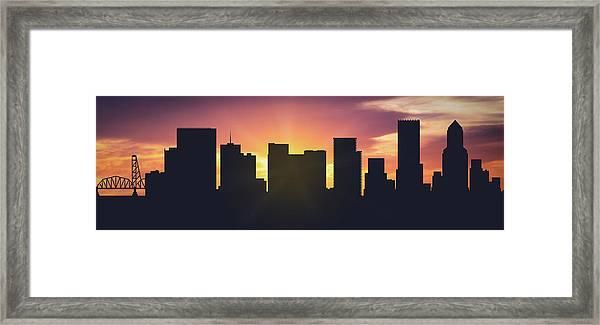 Portland Sunset Usorpo-pa01 Framed Print
