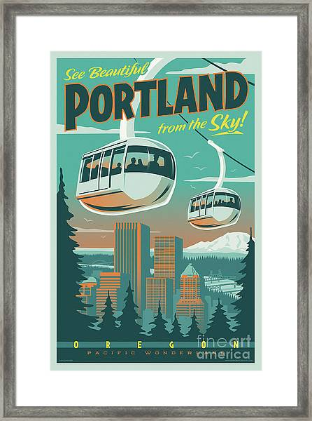 Portland Poster - Tram Retro Travel Framed Print
