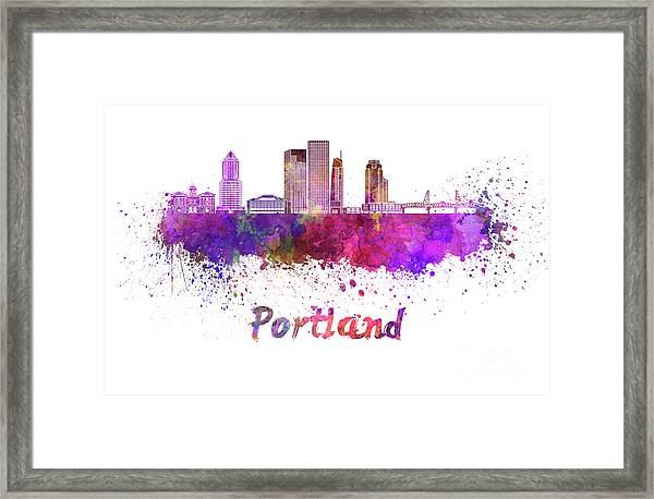 Portland V2 Skyline In Watercolor Framed Print