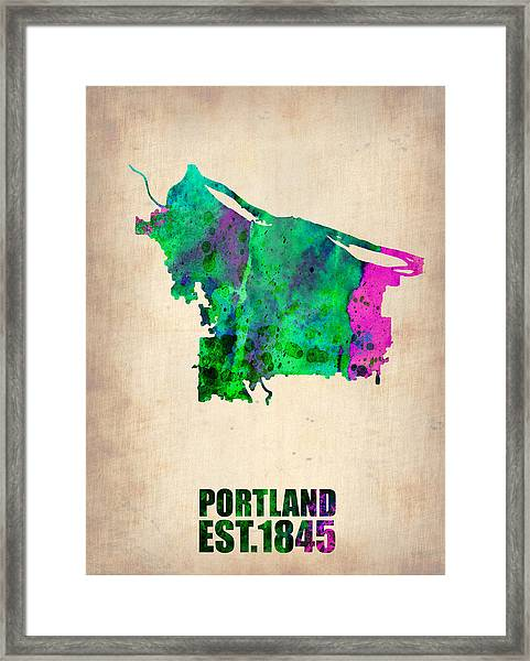 Portland Watercolor Map Framed Print