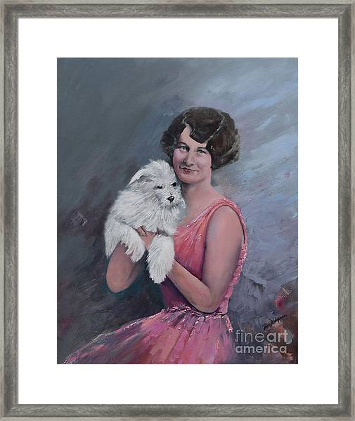 Maggie And Caruso -portrait Of A Flapper Girl Framed Print