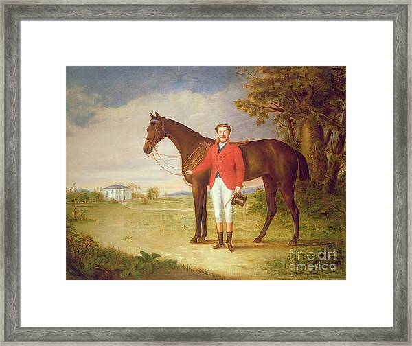 Portrait Of A Gentleman With His Horse Framed Print