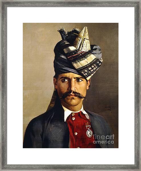Portrait Of A Khattack In Military Headdress Framed Print
