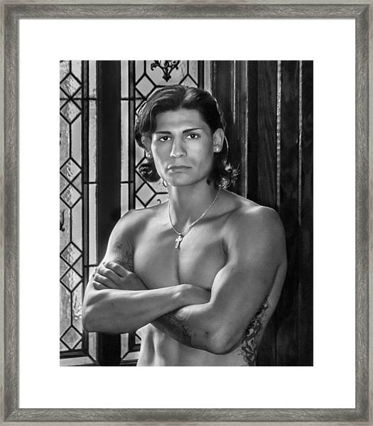 Portrait Of A Male Model Framed Print by James Woody