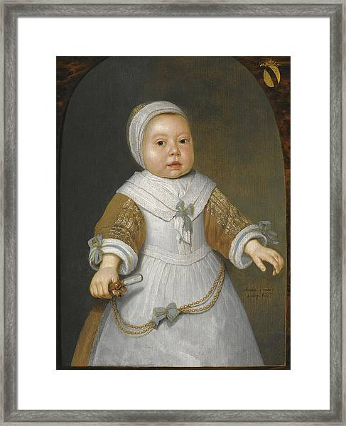 Portrait Of A One-year-old Girl Of The Van Der Burch Family Three-quarter Length Framed Print