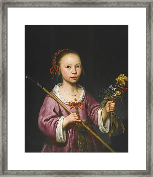 Portrait Of A Young Girl As A Shepherdess Holding A Sprig Of Flowers Framed Print