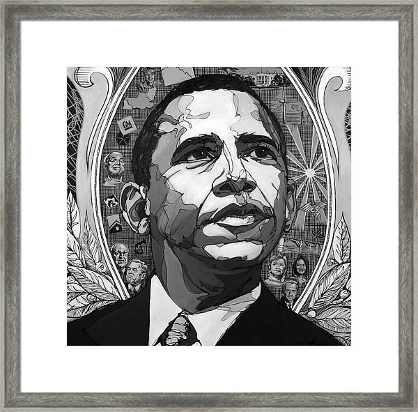Portrait Of Barak Obama Framed Print